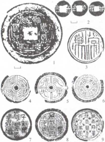 Рис. 2. 1 - бронзовое зеркало из могилы № 28 могильника Чансин; 2 -монеты бань-лян из могилы № 28 могильника Чансин; 3 - черепичный диск с надписью «чан лэ» с городища в Чунъаньчэн (провинция Фуцзянь); 4-9 -черепичные диски западноханьского времени (4 - надпись справа налево в две колонки с вихреобразным дизайном иероглифов, 5 - надпись справа налево в две колонки, 6 - надпись из восьми иероглифов, считываемая по часовой стрелке; 7-9 - надписи более чем из восьми иероглифов справа налево в три колонки).