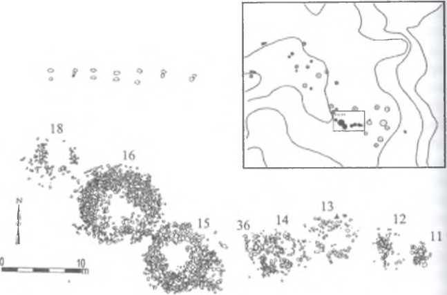 Рис. 1. План группы раскопанных могил некрополя Шомбуузийн бэльчээр (см. на врезке)
