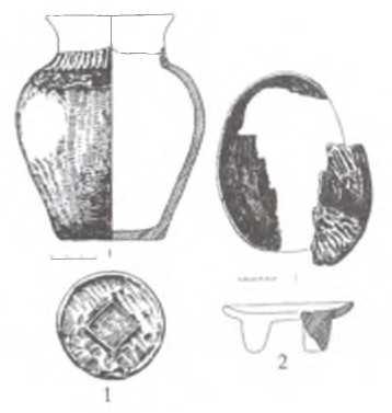 Рис, 4. Яломан-П, курган № 60.Предметный комплекс: 1 - керамический сосуд; 2 - части деревянного блюда