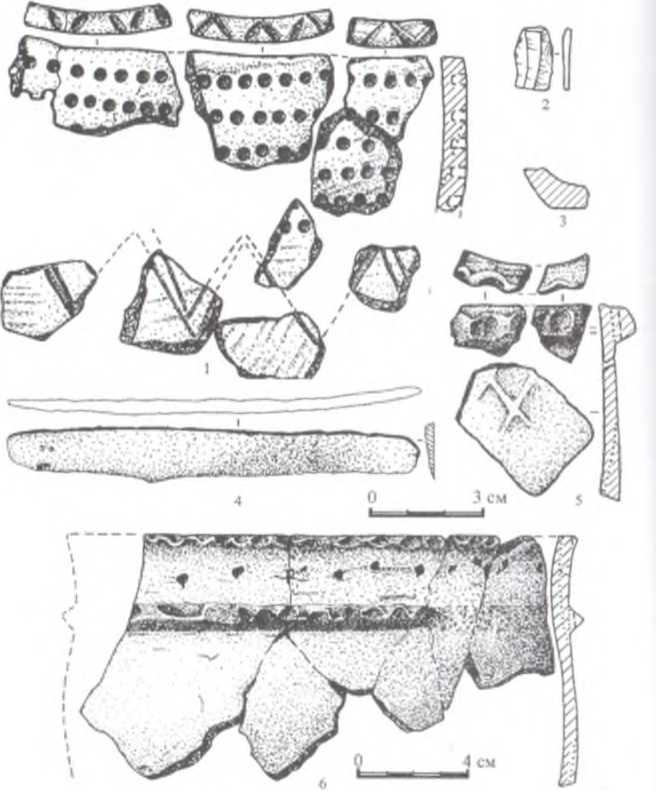 Рис. 9. Цаган Хушун-II, участок «b», находки: 1 - комплекс № 1; 2 -комплекс № 12; 3, 5 - комплекс № 14; 4 - комплекс № 11; 6 - комплекс № 8 1, 3, 5, 6 - керамика; 2 - кремень; 4 - железо