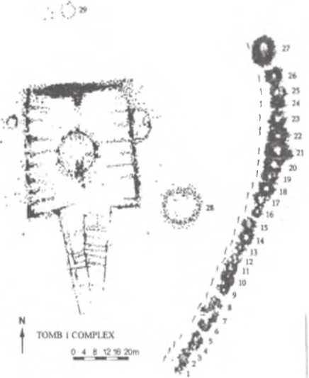 Рис. 2. План кургана № 1 и дугообразно расположенных сопровождающих захоронений