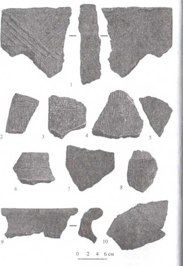 Рис. 9. Городище Тэрэлжин Дэрэвэлжин. Фрагмент облицовочной керамической плитки, основные типы орнамента на фрагментах черепиц, фрагменты керамической посуды